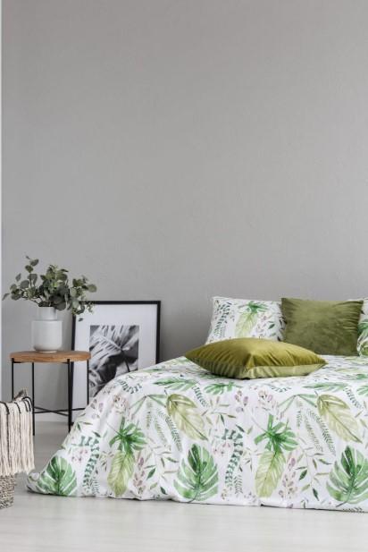 κρεβάτι πράσινο πάπλωμα πράσινο μαξιλάρι
