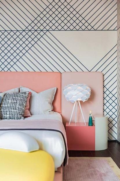 πορτατίφ κομοδίνου ροζ μοντέρνο κρεβάτι