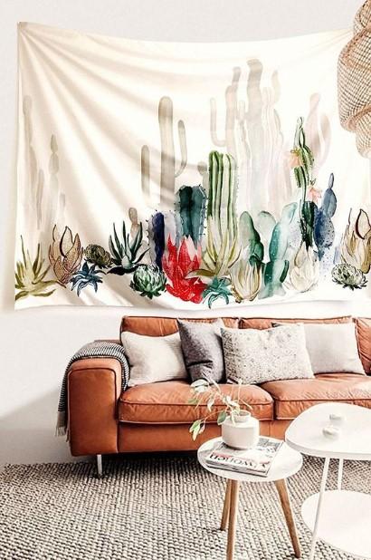 ταπισερί με φυτά και κάκτους τοίχους σαλόνι