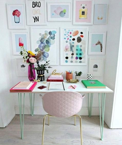τοίχος gallery γραφείο ροζ καρέκλα