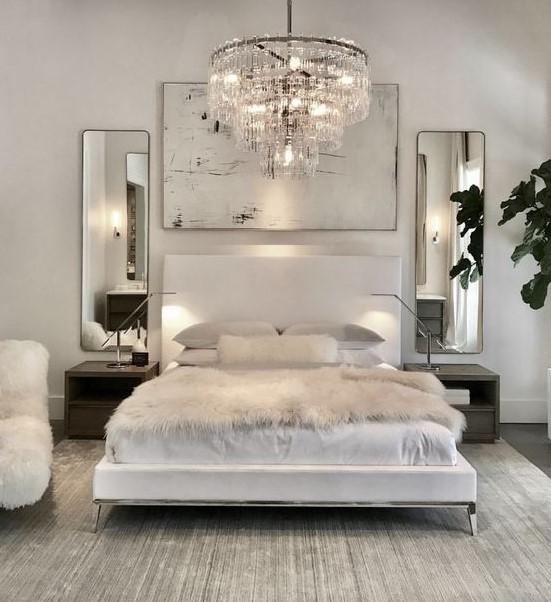 άσπρο υπνοδωμάτιο πολυέλαιος