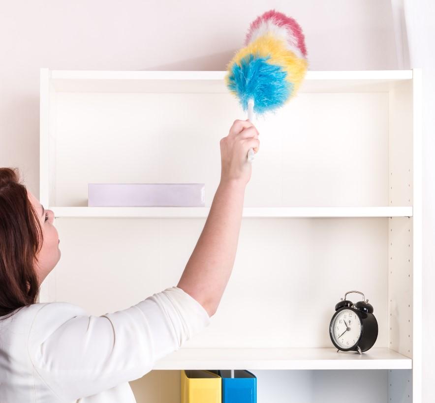 Απαραίτητο ξεσκόνισμα από τη σόνη στα έπιπλα και ράφια στο σπίτι