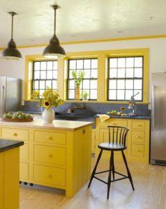 κουζίνα σε κίτρινο χρώμα