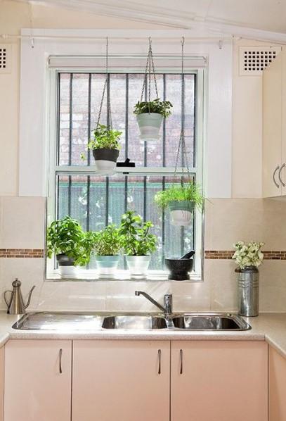 παράθυρο κουζίνας γλαστράκια