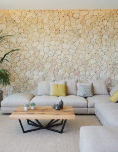 πέτρινος τοίχος στο καθιστικό