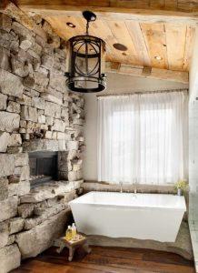 πέτρινος τοίχος μπάνιου