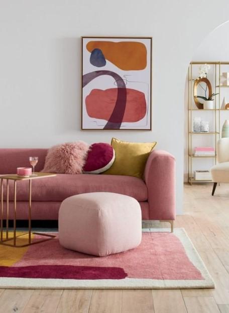 ροζ καναπές ροζ σκαμπό διακόσμησης καλύτερη διάθεση