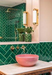 ροζ πράσινο μπάνιο