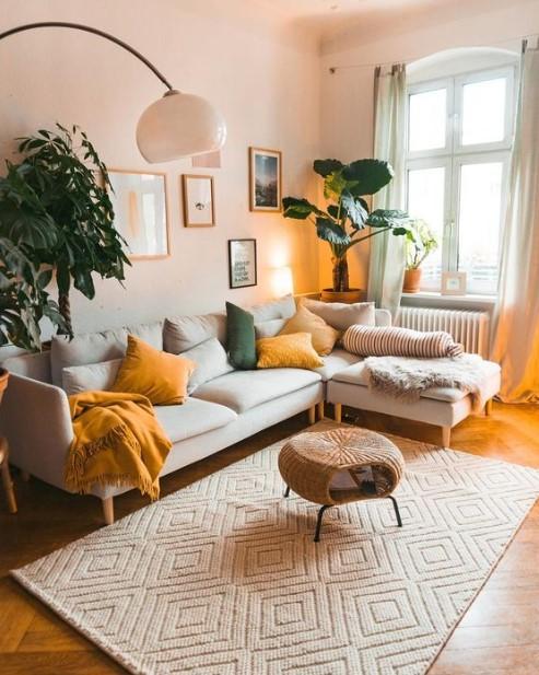 σαλόνι φυτά εσωτερικού χώρου άσπρος καναπές