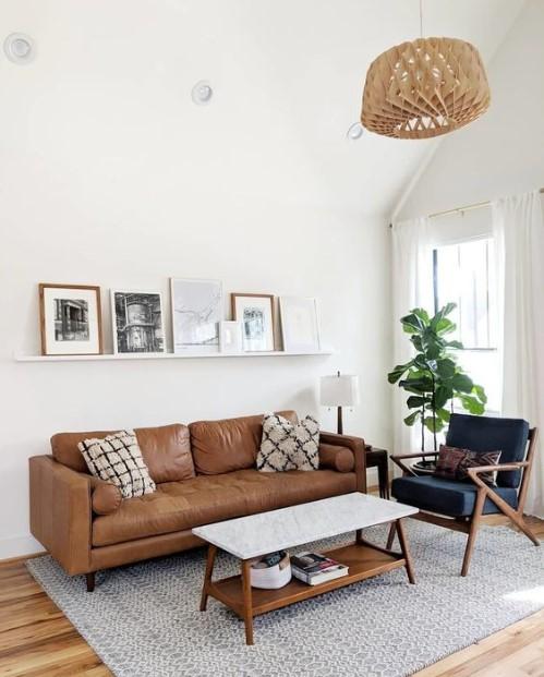 σαλόνι καφέ καναπές μπλε πολυθρόνα