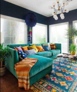 σαλόνι σε μπλε αποχρώσεις