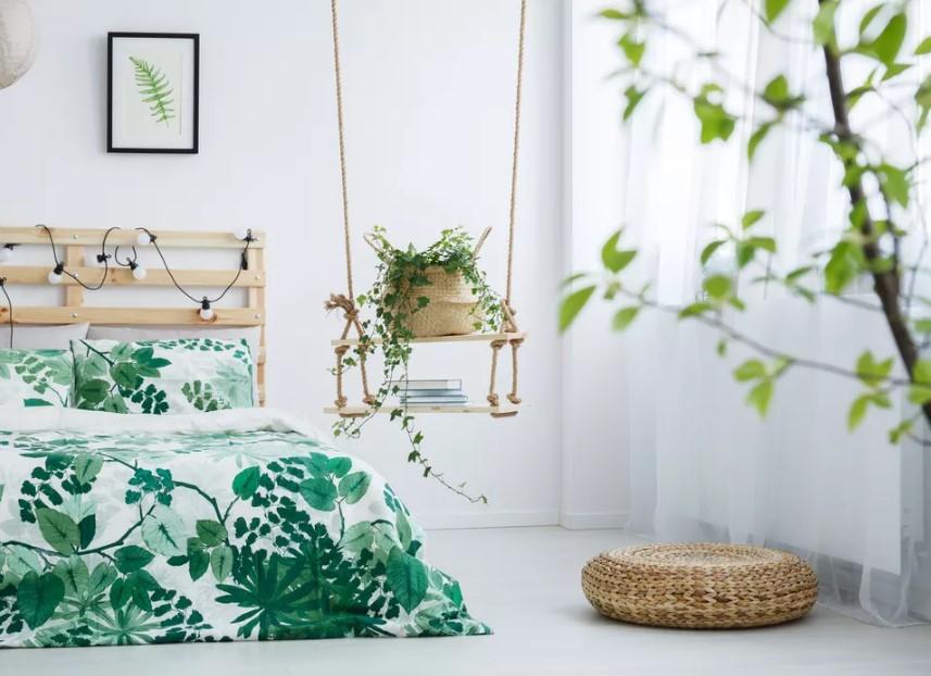 άσπρο δωμάτιο φυτά πάπλωμα