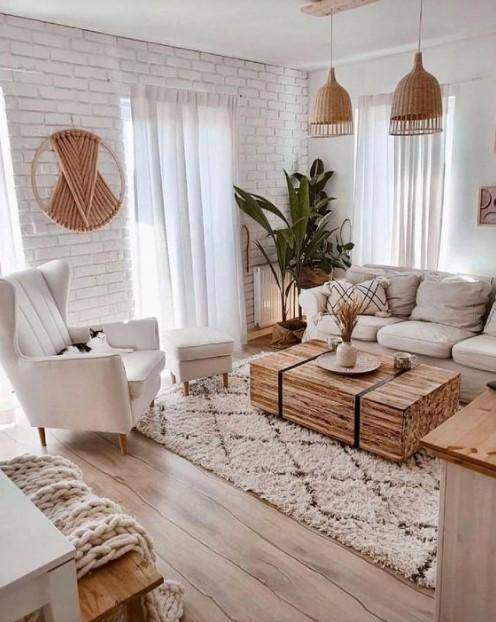 άσπρος τοίχος έπιπλα ξύλινα στοιχεία