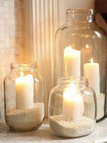 διακόσμηση με κεριά άμμο και βάζο