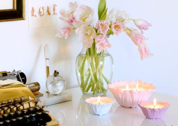 γραφείο ανθοδέσμη κεριά
