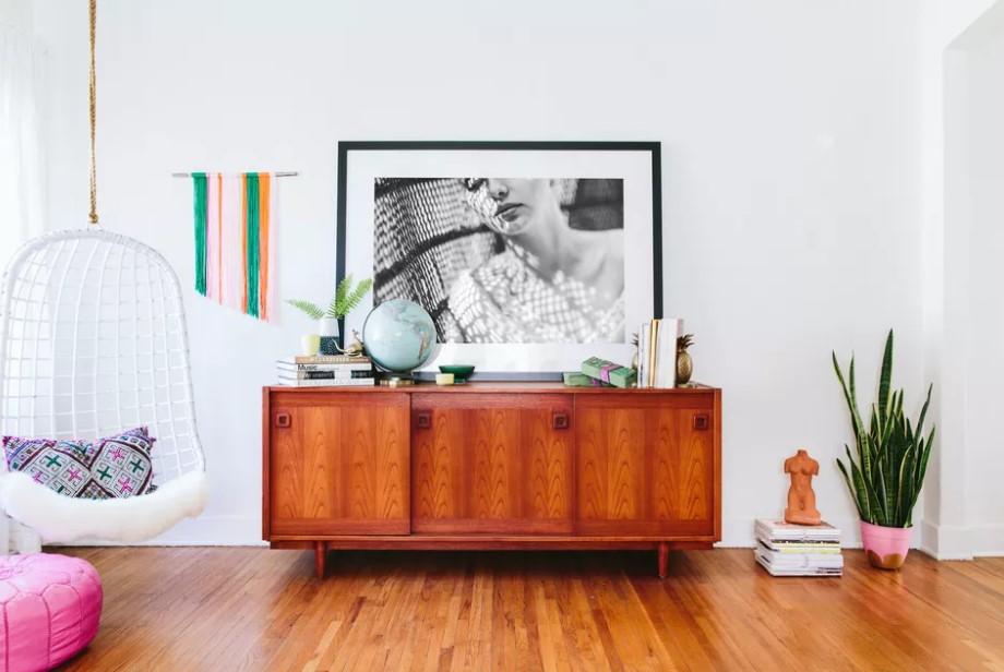 κονσόλα ξύλινη πίνακας μεγάλος vintage δωμάτιο