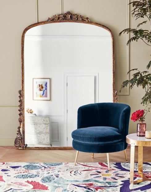 μεγάλος vintage καθρέπτης μπλε πολυθρόνα