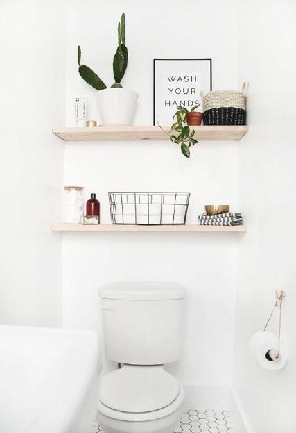 μπάνιο λεκάνη ράφια διακοσμητικά μπάνιου