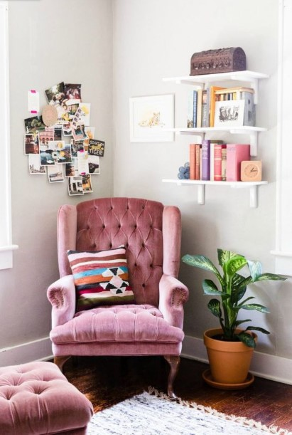 ροζ βελούδινη vintage πολυθρόνα