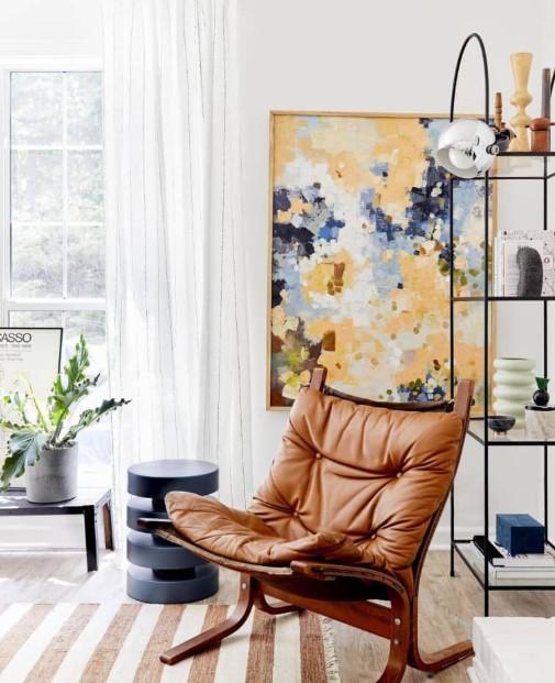 σαλόνι άσπρες ρίγες κουρτίνα