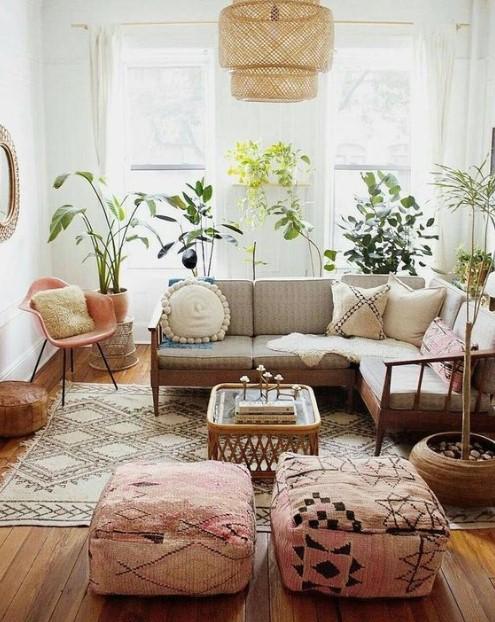 σαλόνι γωνιακός καναπές πουφ
