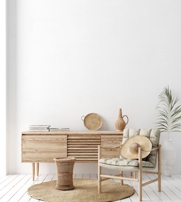 Σκανδιναβική διακόσμηση, ξύλινο και απαλό χρώμα στο πάτωμα