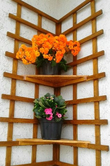 γωνιακά ράφια γλάστρες λουλούδια