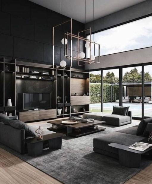 μοντέρνο σαλόνι σκούρα χρώματα