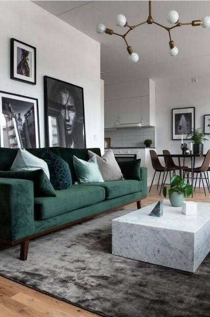 σαλόνι πράσινος καναπές μοντέρνος