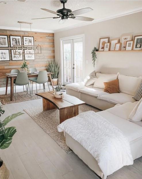 άσπρο σαλόνι ξύλινο τραπέζι