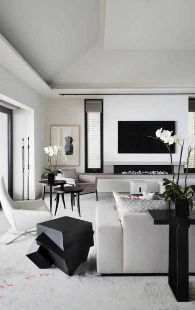 ασπρόμαυρο σαλόνι μοντέρνο
