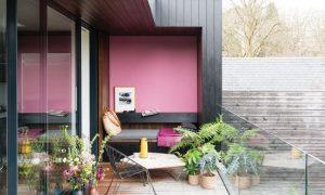 διακόσμηση μπαλκονιού ροζ αποχρώσεις τοίχων