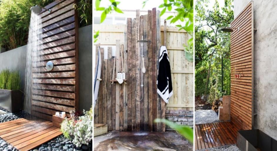 ξύλινες ντουζιέρες εξωτερικού χώρου