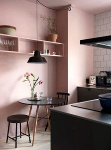 μοντέρνα διακόσμηση ροζ κουζίνα