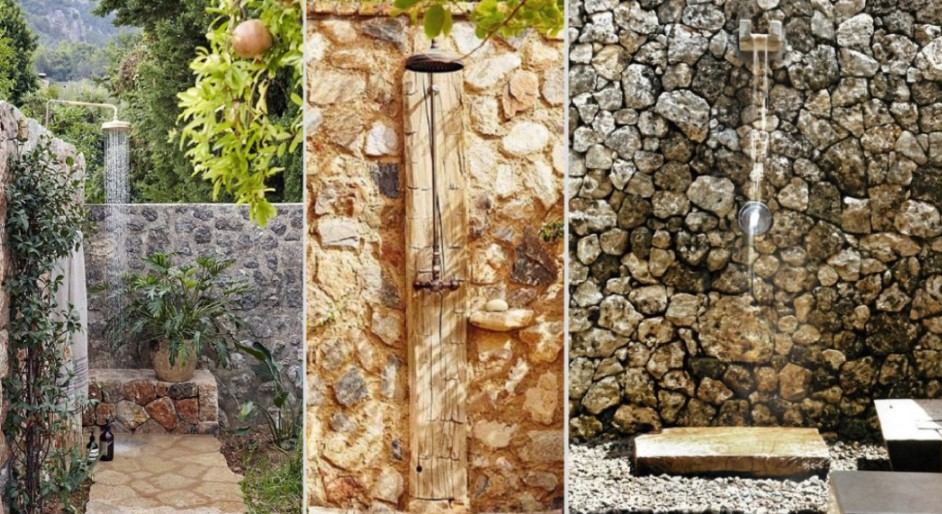 ντουζιέρες εξωτερικού χώρου σε πέτρα