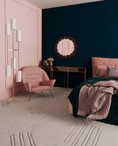 ροζ μπλε τοίχοι κρεβατοκάμαρα