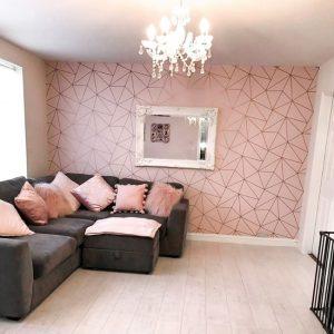ροζ τραπεζαρία σαλόνι
