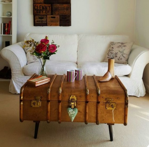 τραπεζάκι του καφέ σαλονιού βαλίτσα