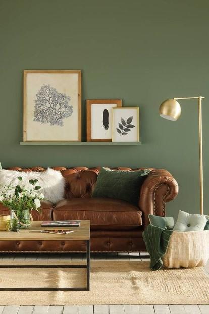 πράσινο της ελιάς καφέ δερμάτινος καναπές