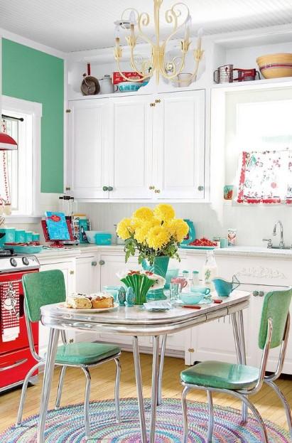 χρωματιστή ρετρό κουζίνα