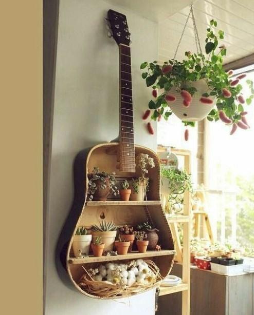 κιθάρα με ράφια και γλαστράκια