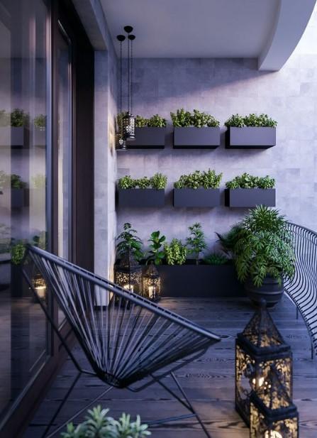 μαύρο απλό μπαλκόνι