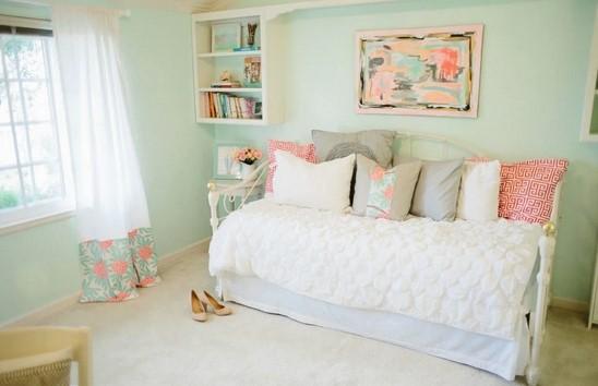 μεντα πρασινο ροζ και ασπρο για υπνοδωματιο