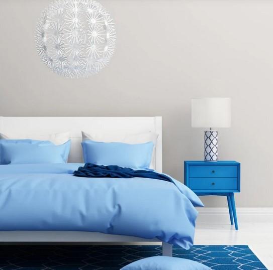 γαλαζιο μπλε λευκο δωματιο