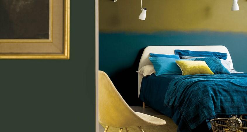 μπλε πρασινο χρυσο διακοσμηση δωματιου