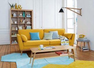 σαλόνι κίτρινος καναπές έπιπλα φοιτητικό σπίτι