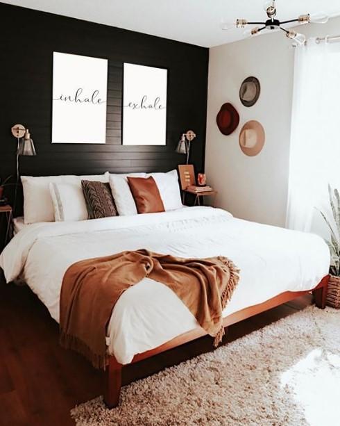 διακόσμηση στο υπνοδωμάτιο σε μαύρο