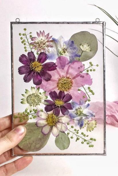 διακοσμητική diy κορνίζα με λουλούδια