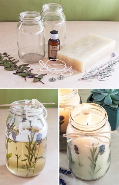 diy κεριά με αποξηραμένα λουλούδια