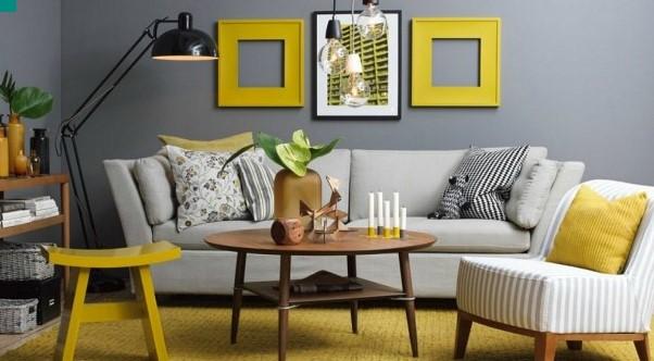 κιτρινο και γκρι χρωμα σε σαλονι
